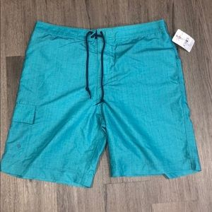 CHAPS Teal swimming trunks NWT L